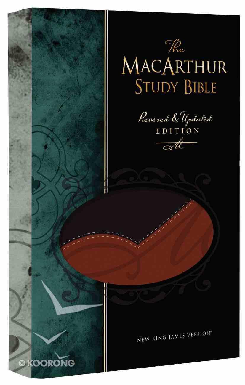NKJV Macarthur Study Bible Black/Terracotta (Black Letter Edition) Premium Imitation Leather