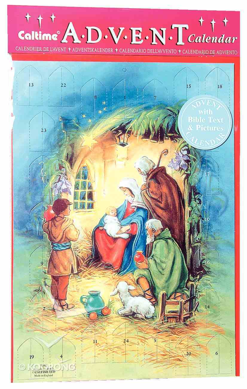 Advent Calendar: Jesus in the Manger With Bible Text/Pictures/Envelope Calendar
