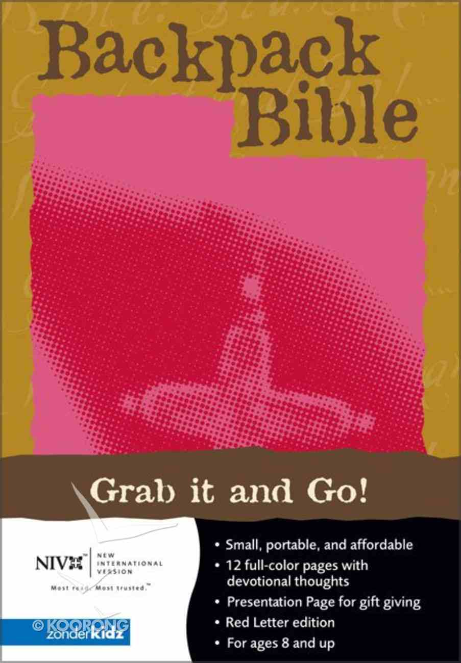 NIV Backpack Bible Embossed Cross Fresh Fuchsia Imitation Leather