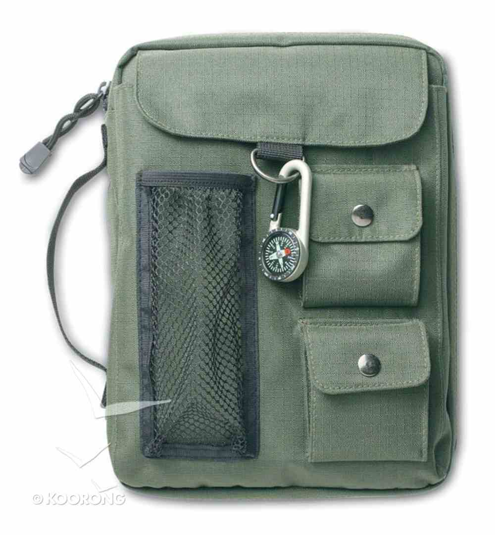 Bible Cover Green Canvas With 3 Pockets & Compass Large Bible Cover