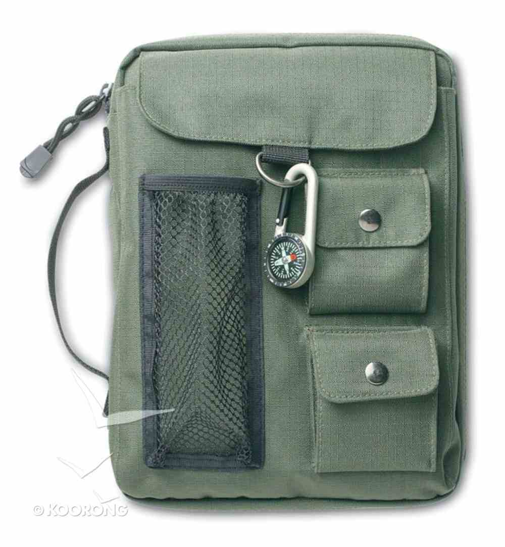 Bible Cover Green Canvas With 3 Pockets & Compass Medium Bible Cover