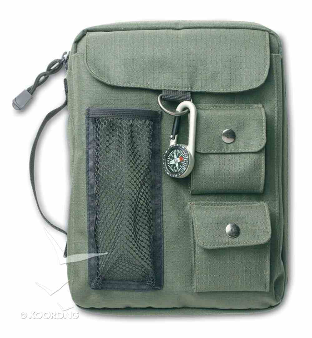 Bible Cover Green Canvas With 3 Pockets & Compass Extra Large Bible Cover