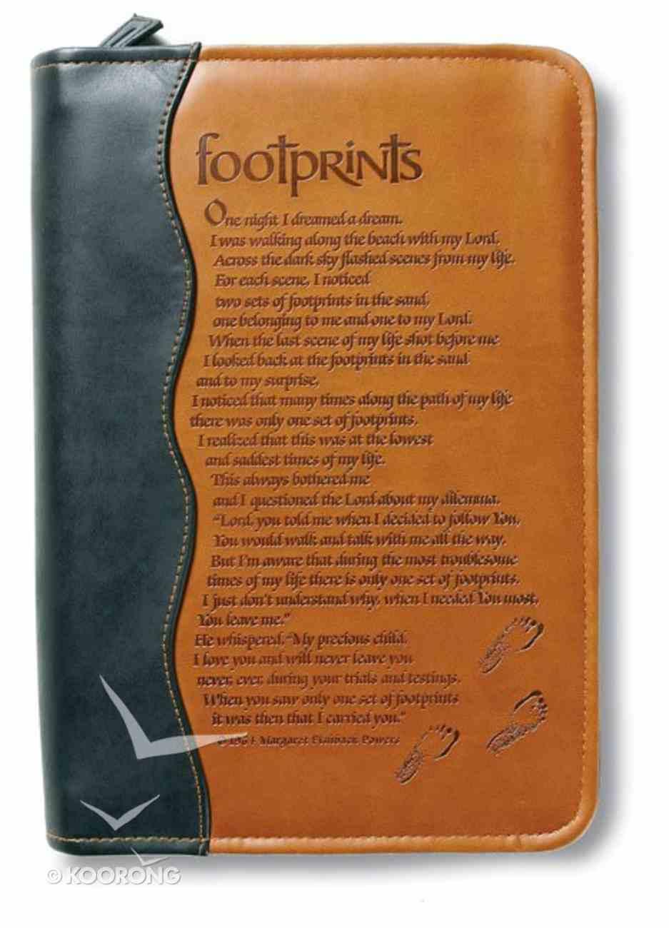 Bible Cover Footprints Duo-Tone Black/Tan Medium Bible Cover