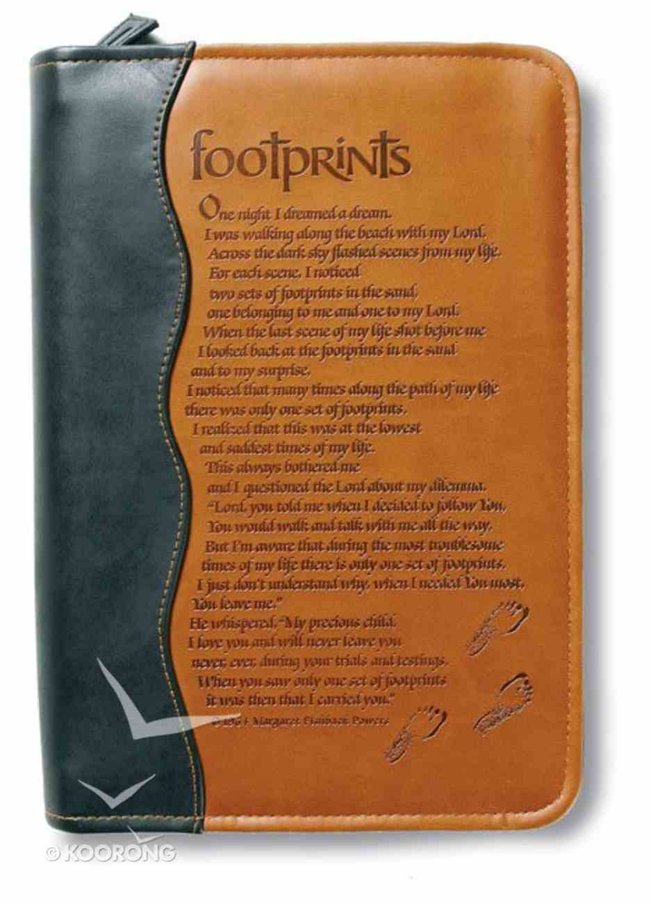 Bible Cover Footprints Duo-Tone Black/Tan Extra Large Bible Cover