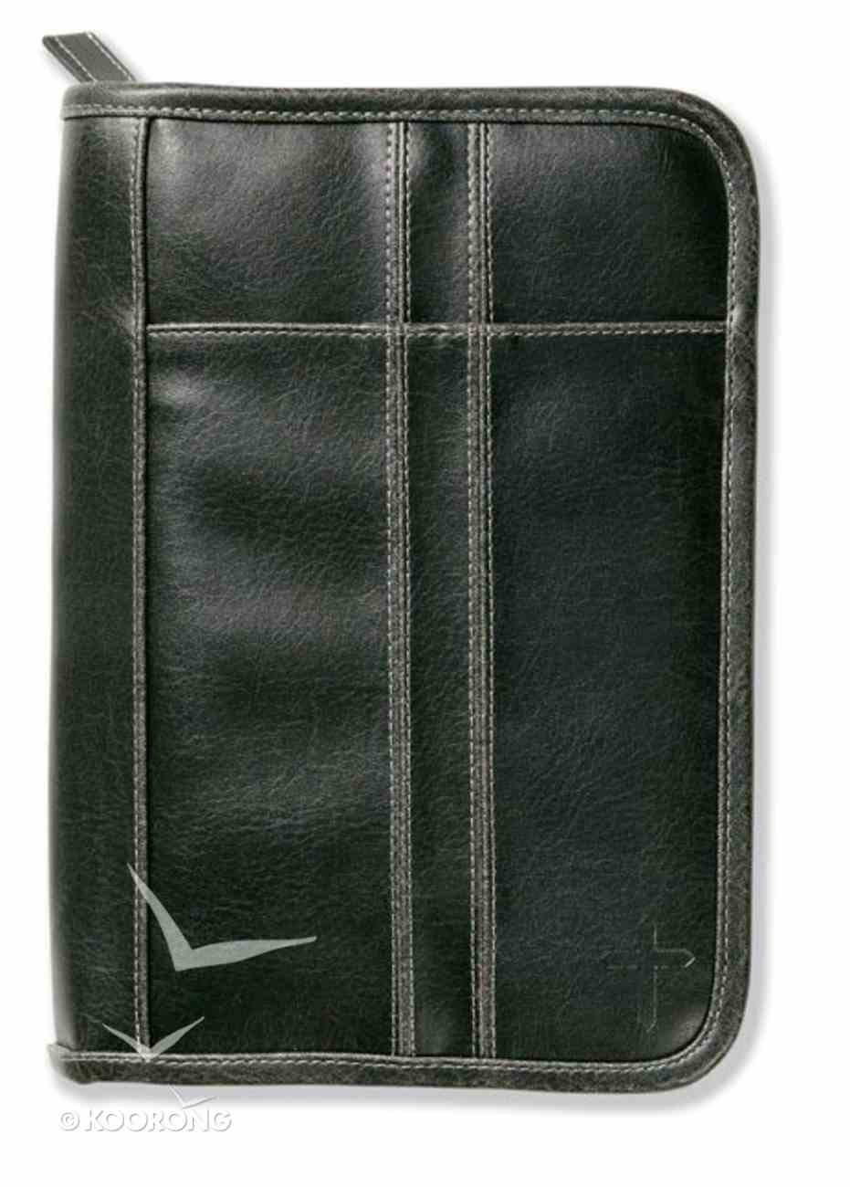 Bible Cover Distressed Leather-Look Black Medium Bible Cover
