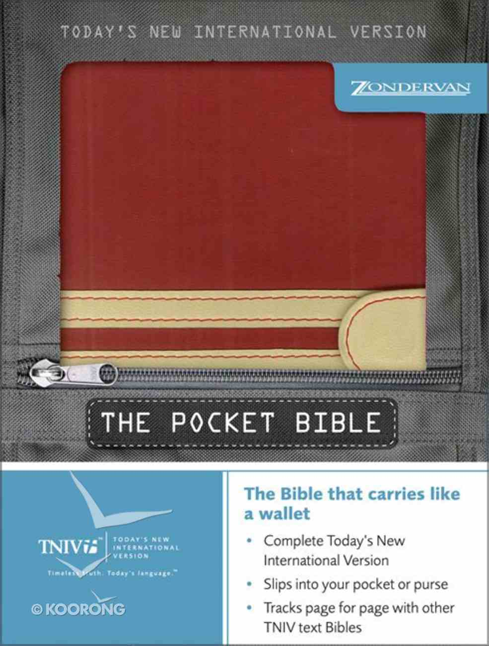 TNIV Pocket Bible Scarlet/Sand Stripes Duo-Tone Imitation Leather