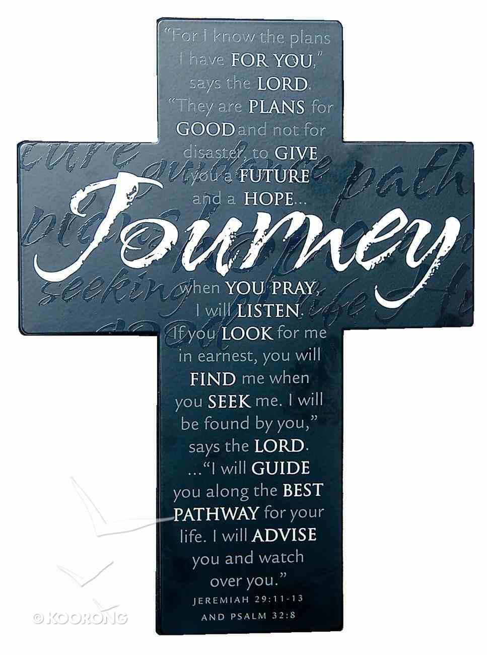 Large Metal Message Cross: Journey Various Scriptures, Black Homeware