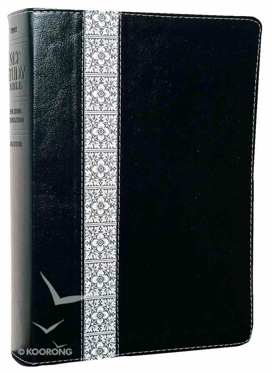 NLT Study Bible Black Fabric/White Floral Imitation Leather