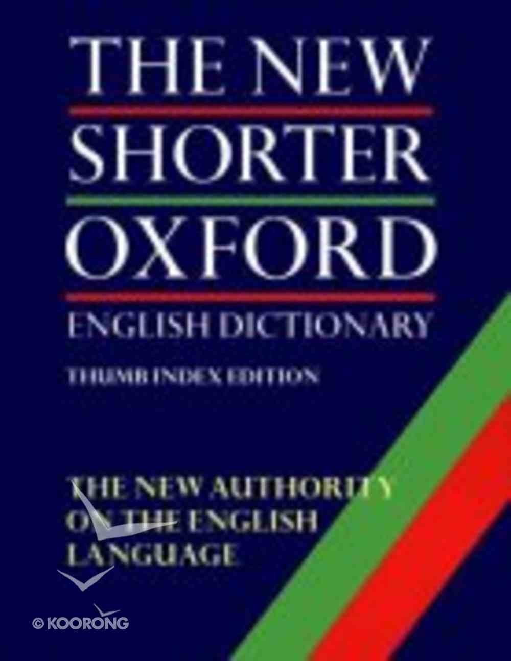 New Shorter Oxford English Dictionary Hardback