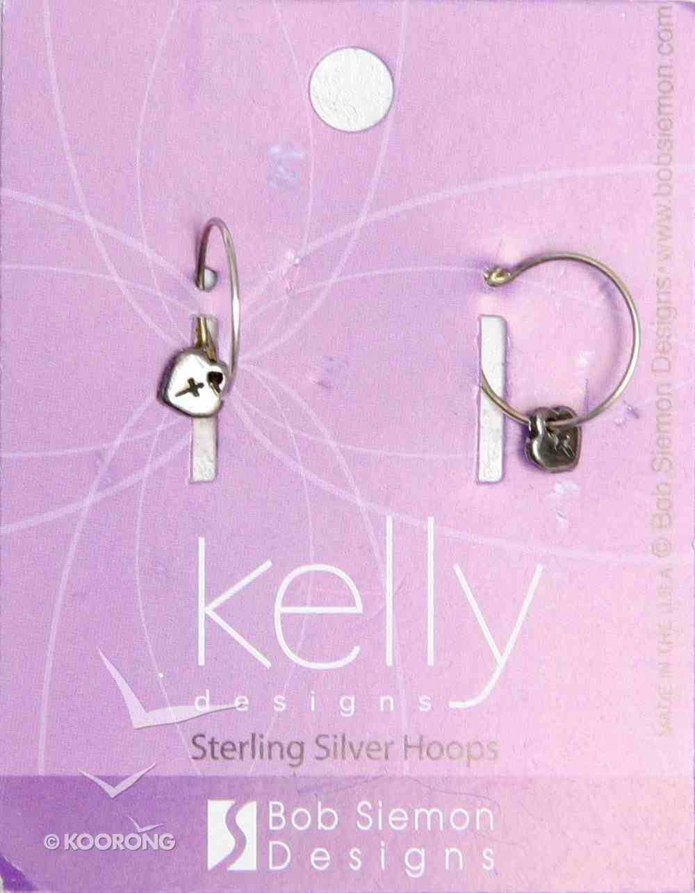 Earrings Kelly Design: Hoop Heart With Cross (Lead-free Pewter) Jewellery