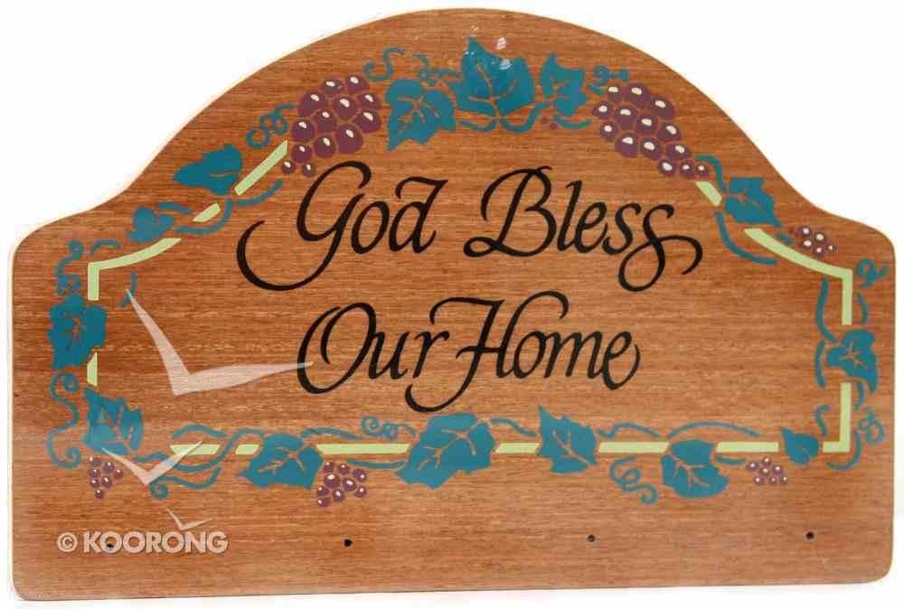 Teakwood Keyrack: God Bless Our Home (Grapes) Plaque