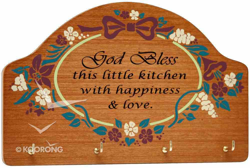 Teakwood Keyrack: God Bless This Little Kitchen With Happiness and Love Plaque