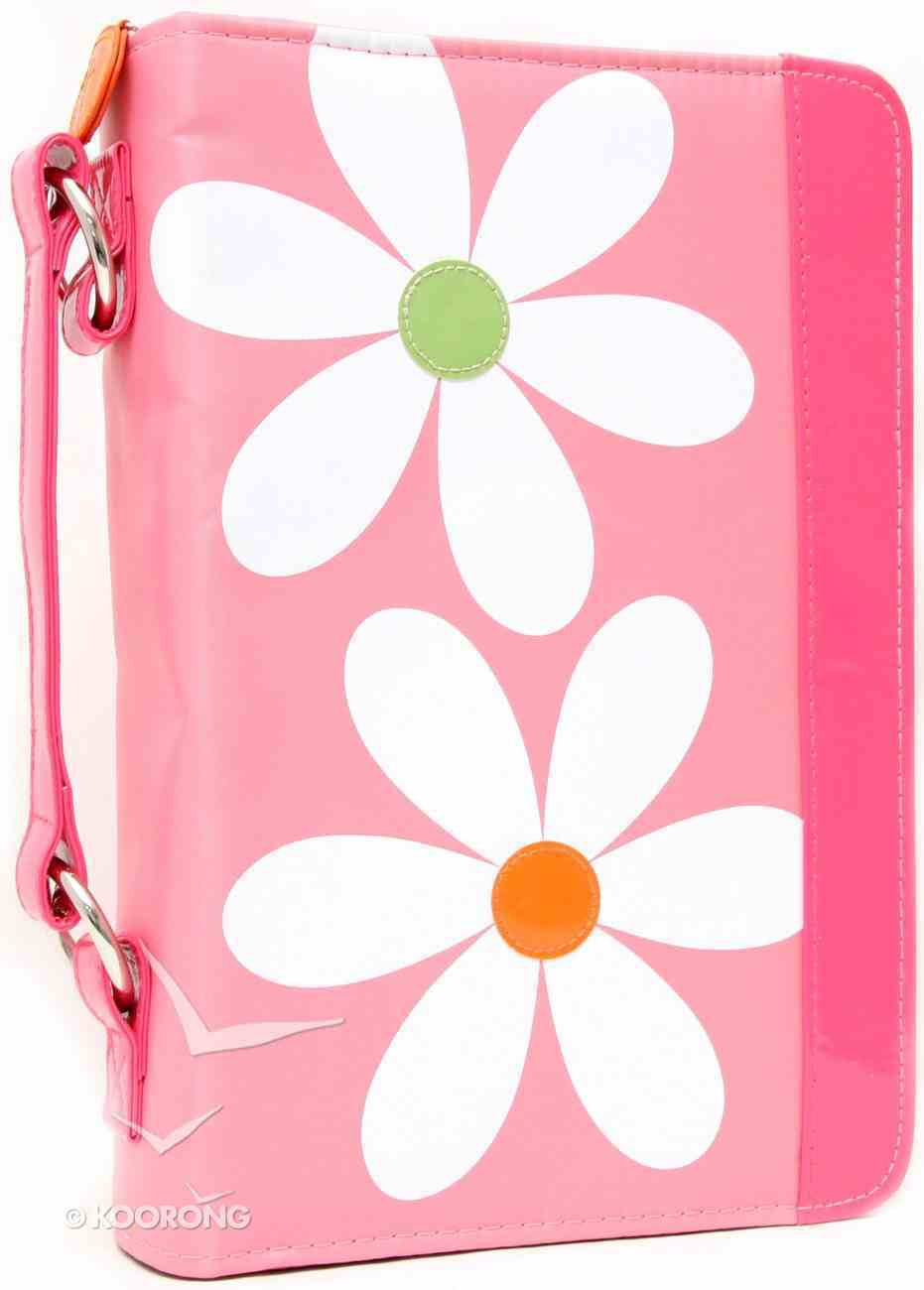 Bible Cover Daisy Pink With Zipper Pocket - Medium Bible Cover