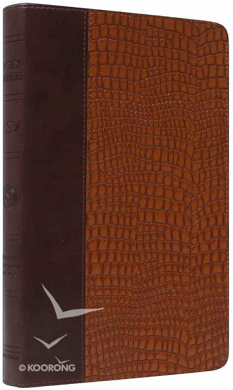 ESV Thinline Trutone Bible Brown/Tan Gator Design Imitation Leather