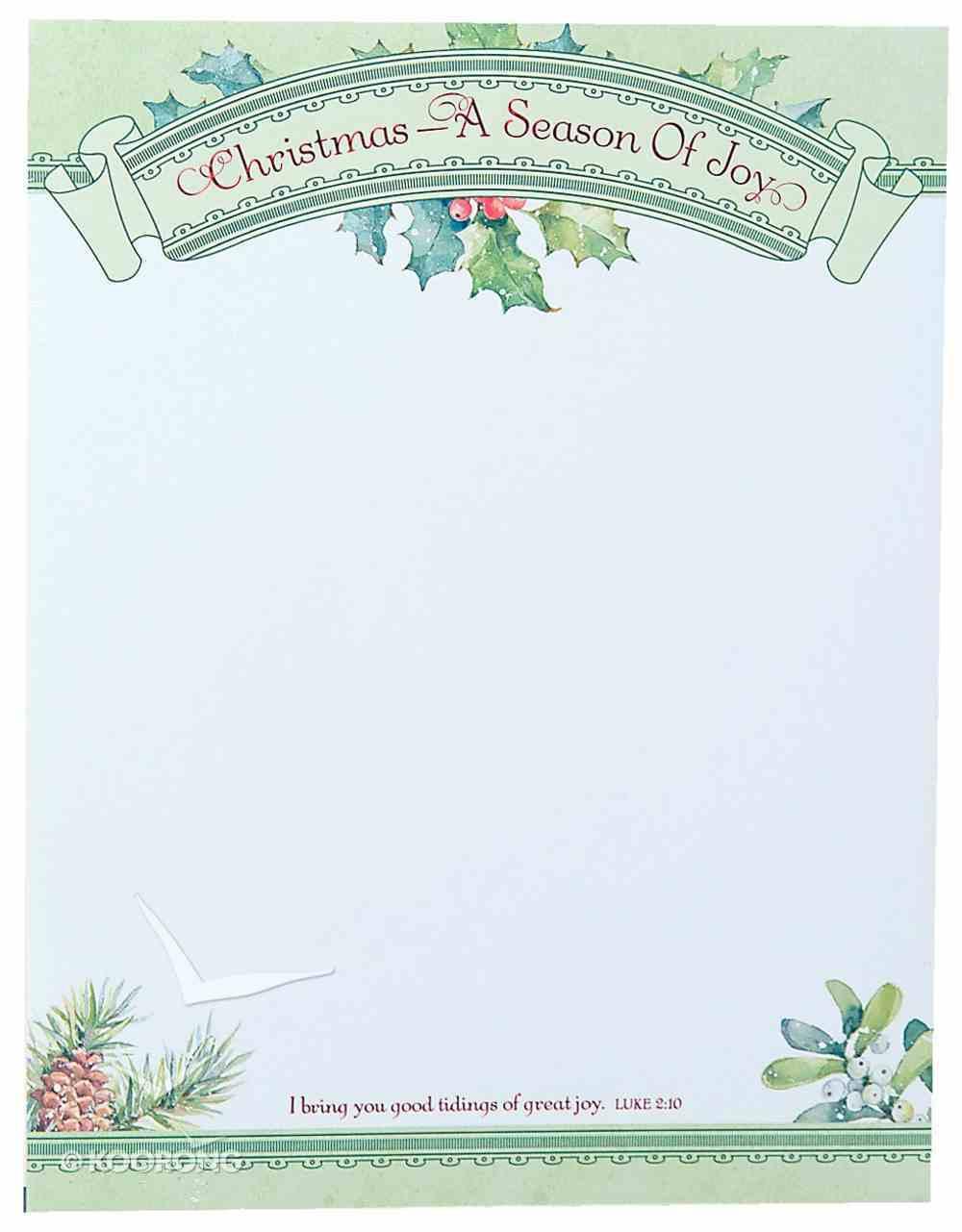 Christmas Laser Stationery: Season of Joy, Luke 2:10, 21.5cm X 28Cm Stationery