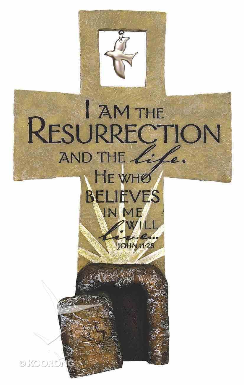 Resurrection Sculpture Cross John 11: 25 (Polyresin) Plaque