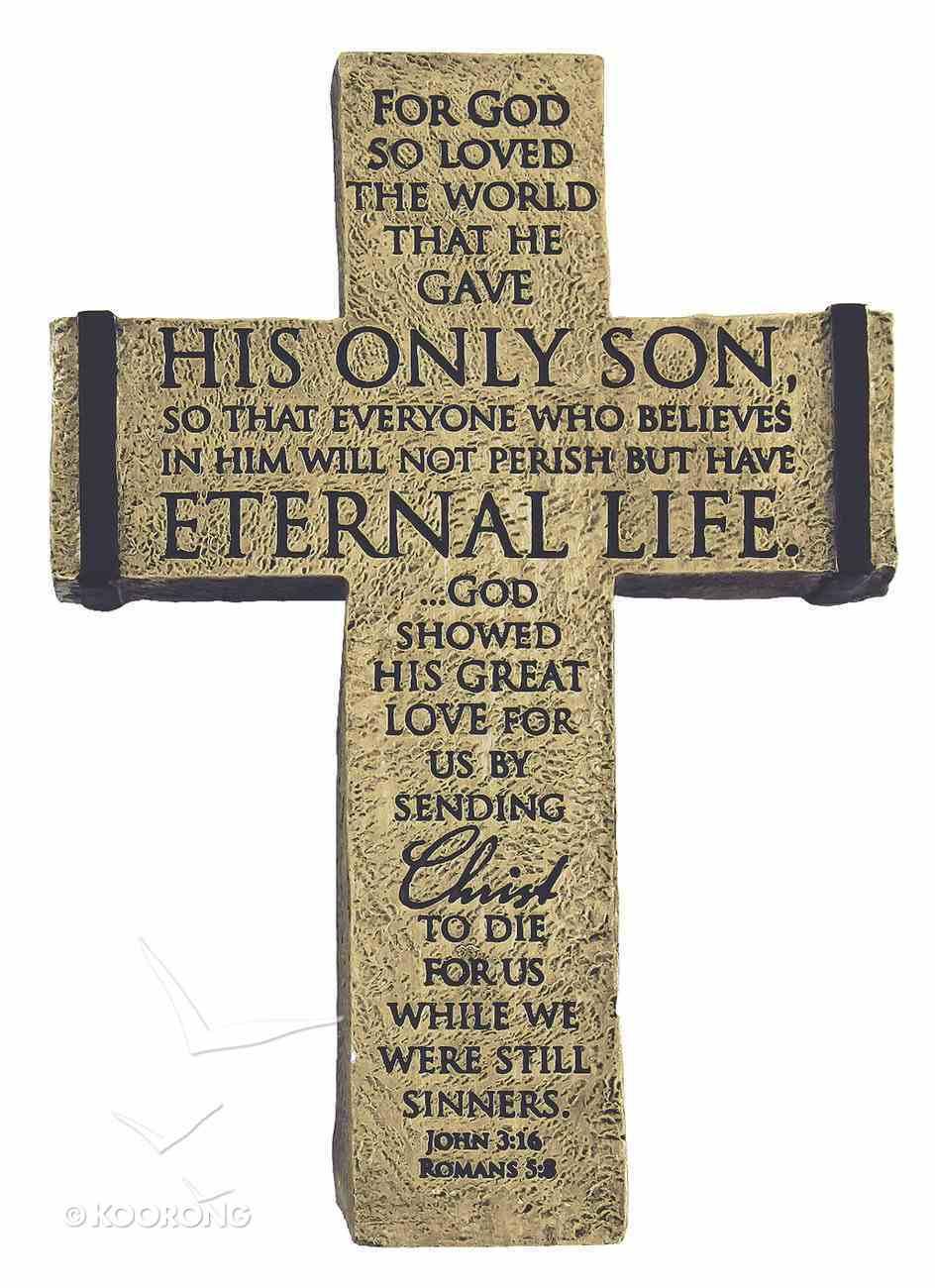 Cross Desktop: For God So Loved (Polyresin) (John 3:16 & Romans 5:8) Plaque