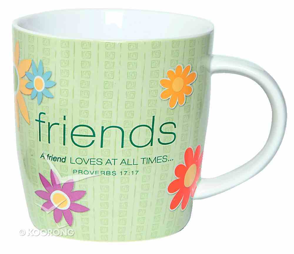 Encouragement Mug: Cup of Friends Proverbs 17:17 (Pale Green With Flowers) Homeware