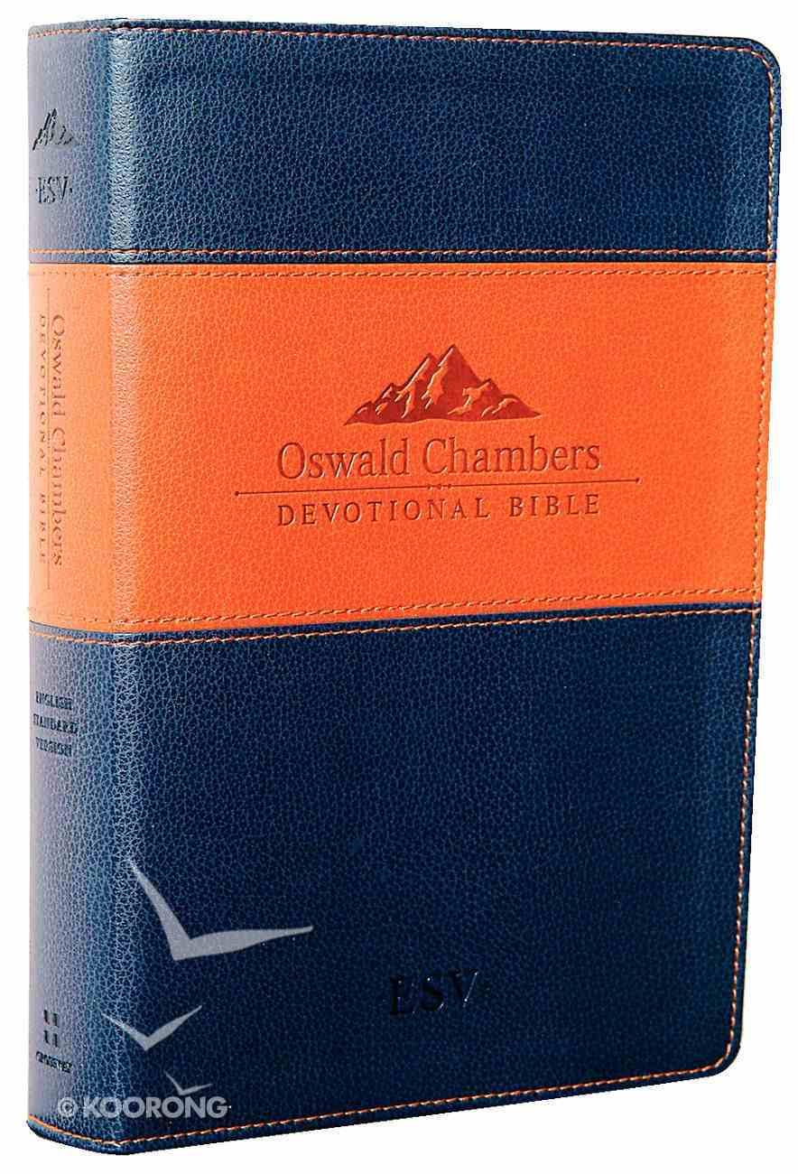 ESV Oswald Chambers Devotional Navy Tan Trutone Imitation Leather