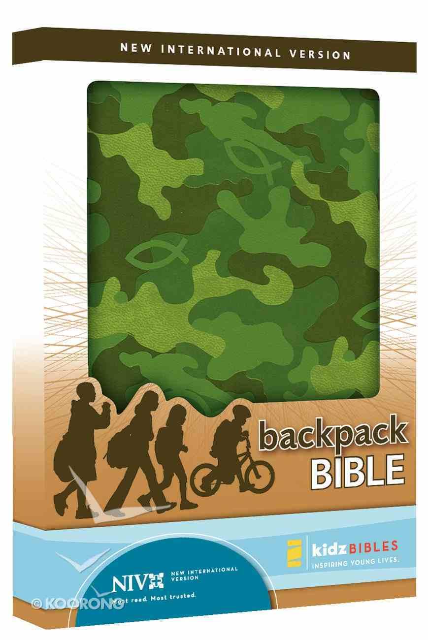 NIV Backpack Camo Green Duo-Tone Bible Imitation Leather