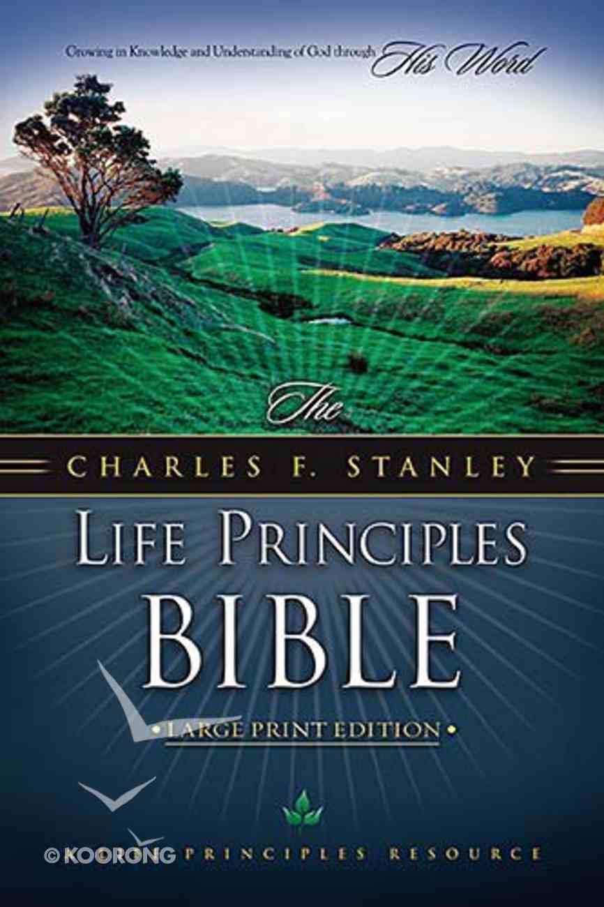 NKJV Charles F Stanley Life Principles Bible Lp Burgundy Bonded Leather