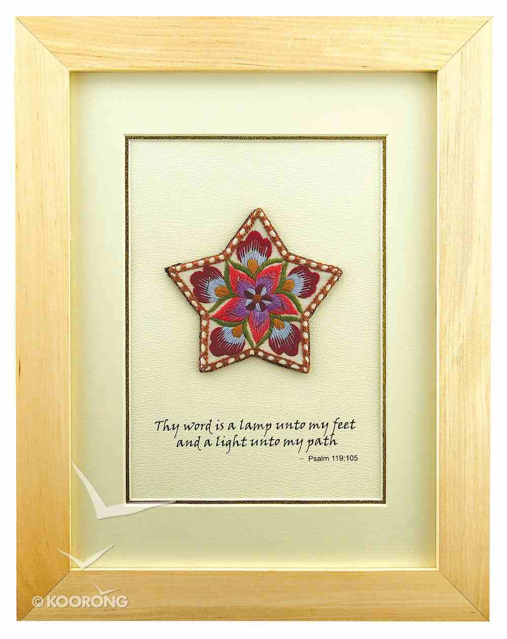 Thy Word is a Lamp Psalm 119: 105 (Threads of Yunnan Framed Embroidered Artwork) (Empowering The Poor Series) Plaque