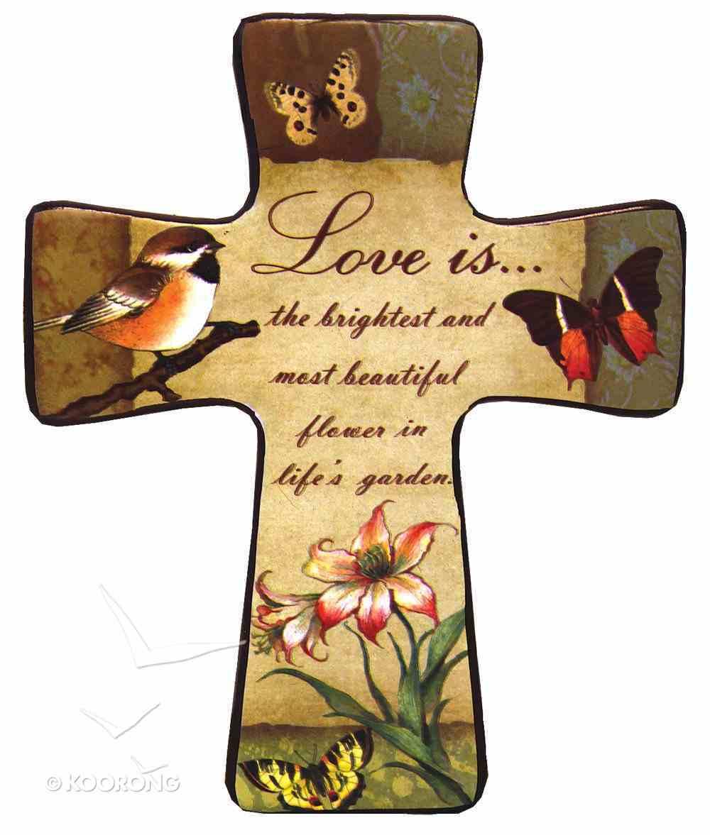 "Ceramic Cross Wall Plaque ""Love Is..."" Plaque"