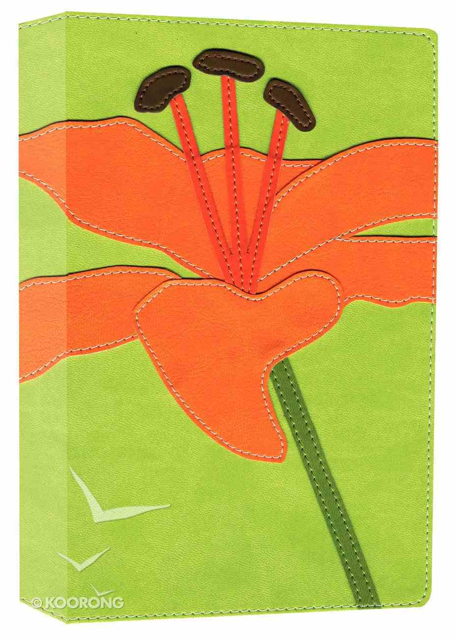 NIV Thinline Bloom Bible Green/Orange Tiger Lily (Red Letter Edition) Premium Imitation Leather