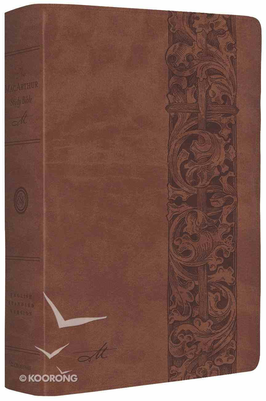 ESV Macarthur Study Bible Natural Brown Woodcut Design (Black Letter Edition) Imitation Leather