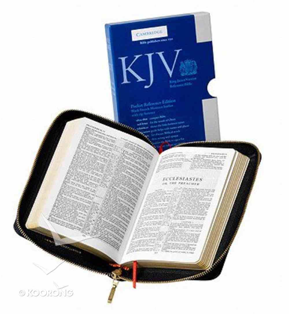 KJV Pocket Reference Black With Zipper (Red Letter Edition) Morocco Leather (Sheepskin)