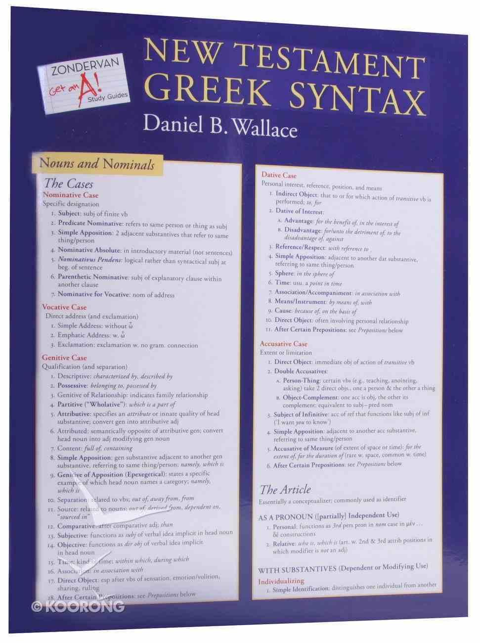 Zondervan Get An A! New Testament Greek Syntax Sheet Chart/card