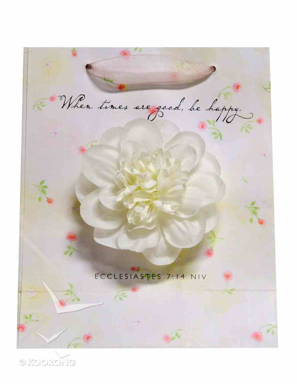 Gift Bag Small: White Flower Ecclesiastes 7:14 (Incl Tissue) Stationery