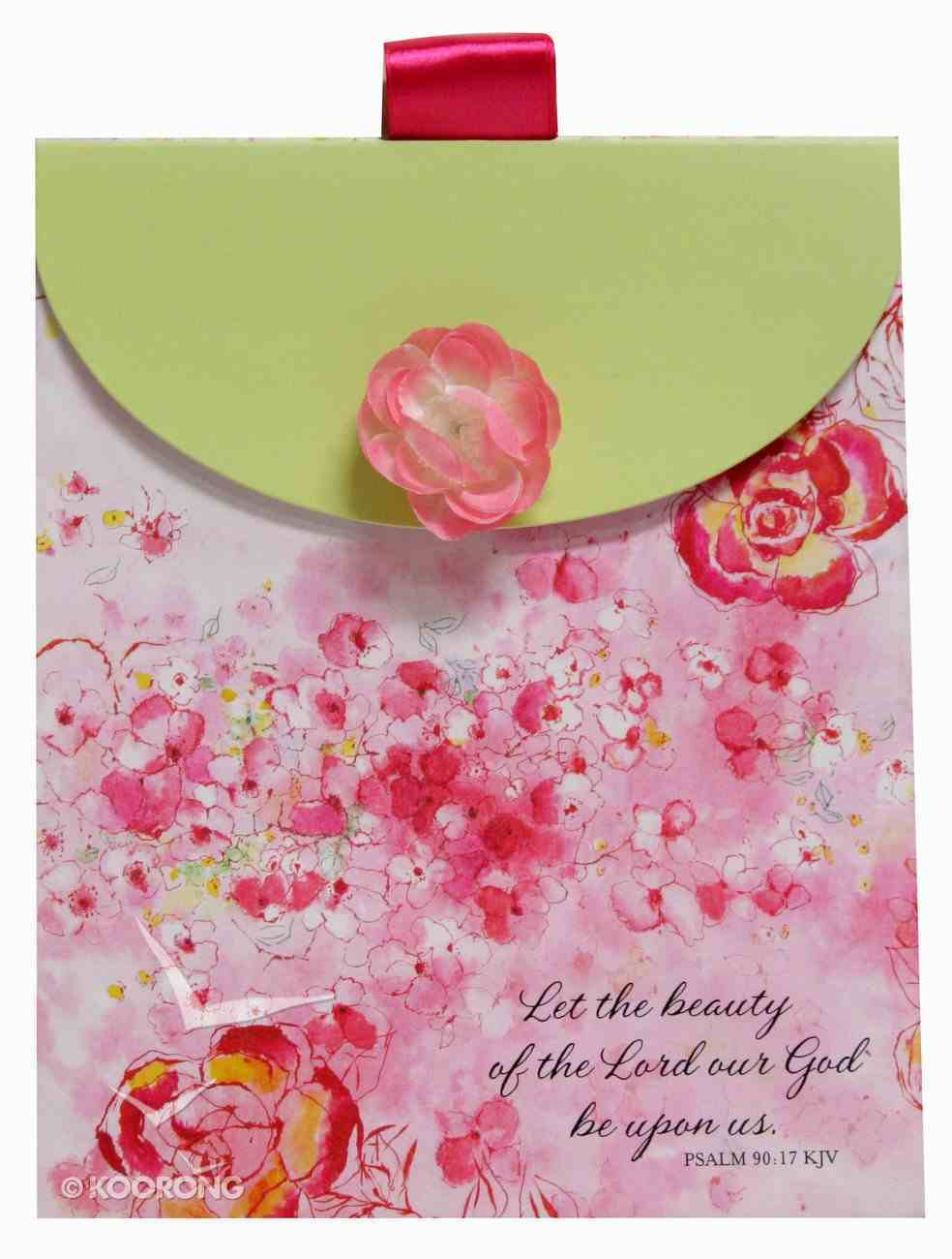 Gift Bag Medium: Pink Flower, Flower Attachment/Satin Ribbon Handle Stationery