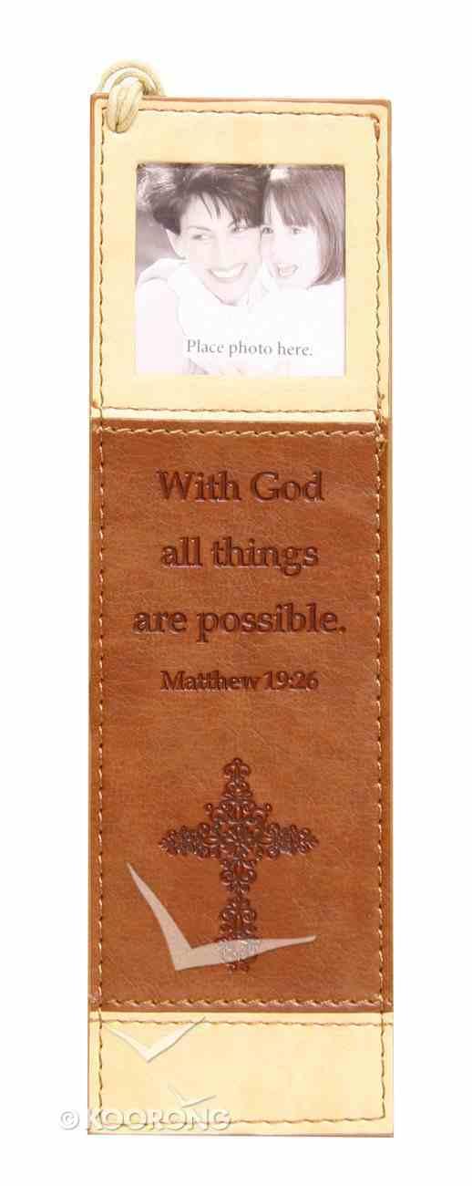 Bookmark With Photo Frame: Matthew 19:26 Luxleather Imitation Leather