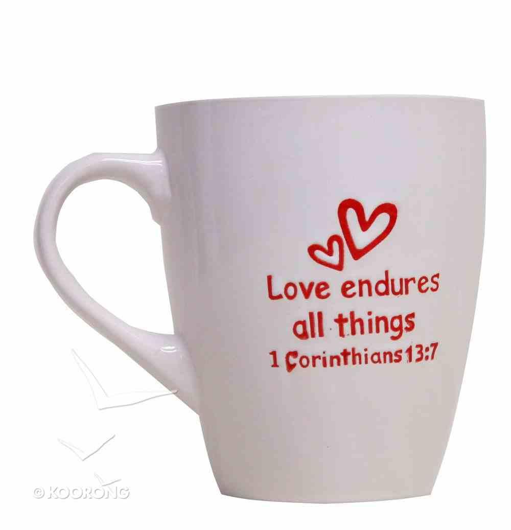 Mug Valentines: Love White/Red 1 Corinthians 13:7 Homeware