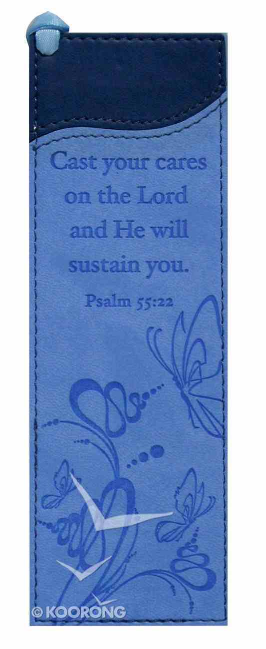 Bookmark: Psalm 55:22 Luxleather Blue Imitation Leather