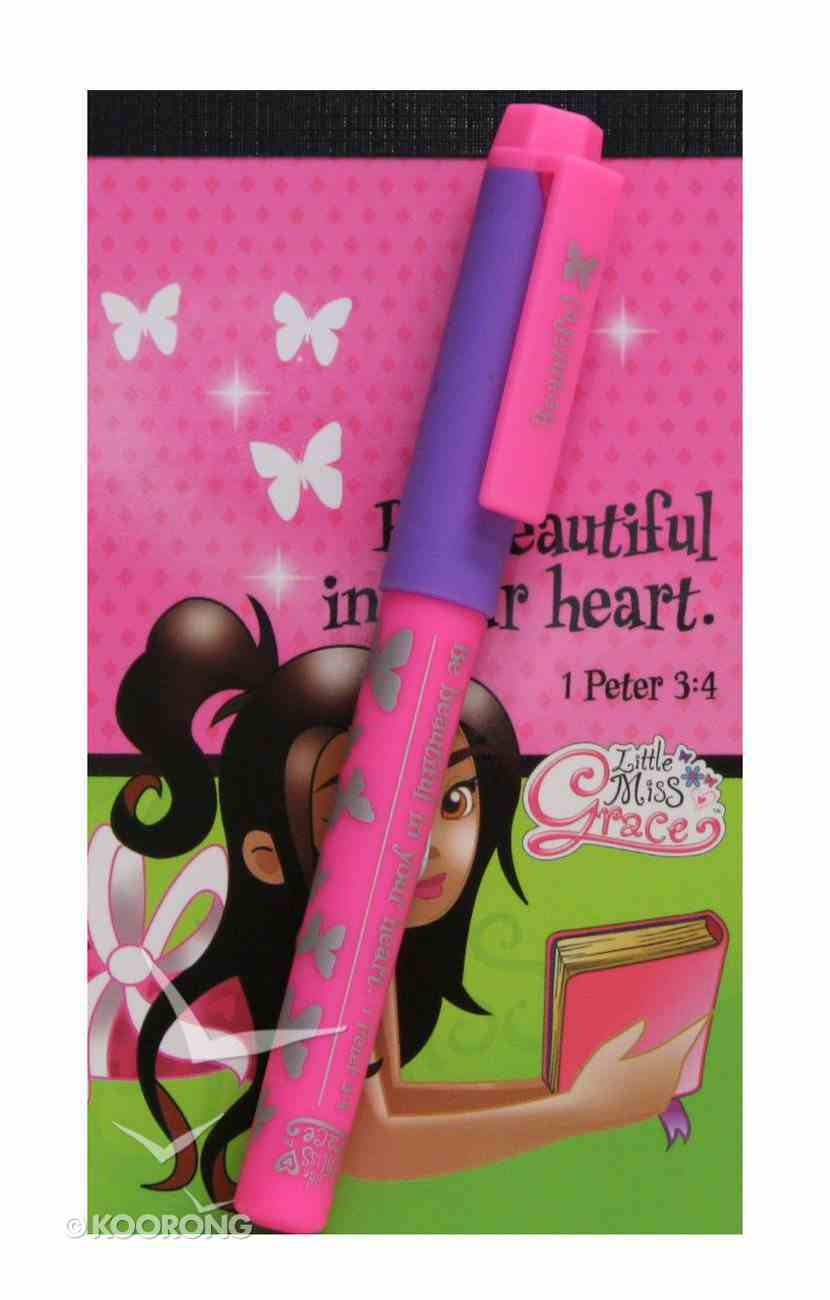 Little Miss Grace: Notepad With Pen Girl (1 Peter 3:4) Stationery