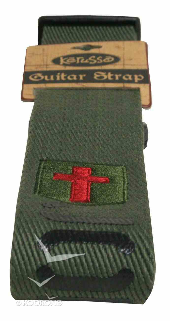 Guitar Strap John 3: 16 Green/Brown With Black Text Red Cross General Gift