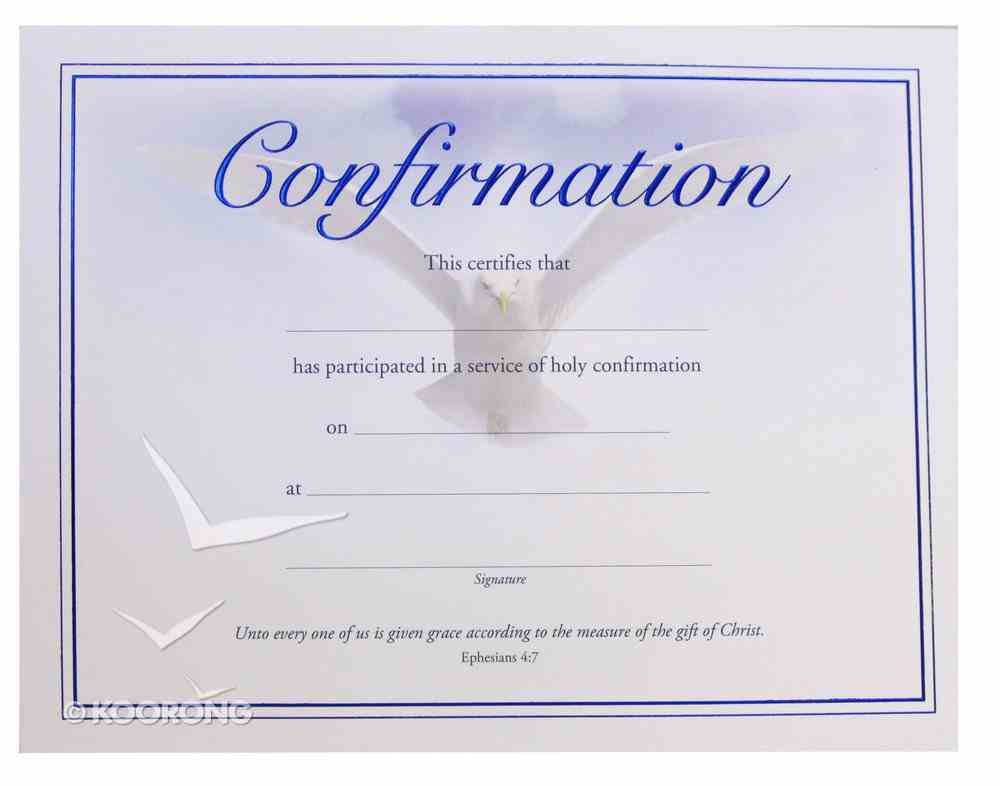 Certificate: Confirmation With Dove Stationery