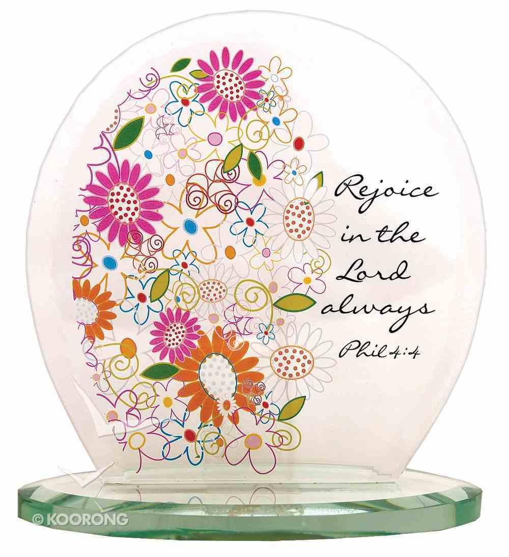 Standing Oval Glass Plaque: Floral Pattern Philippians 4:4 Homeware