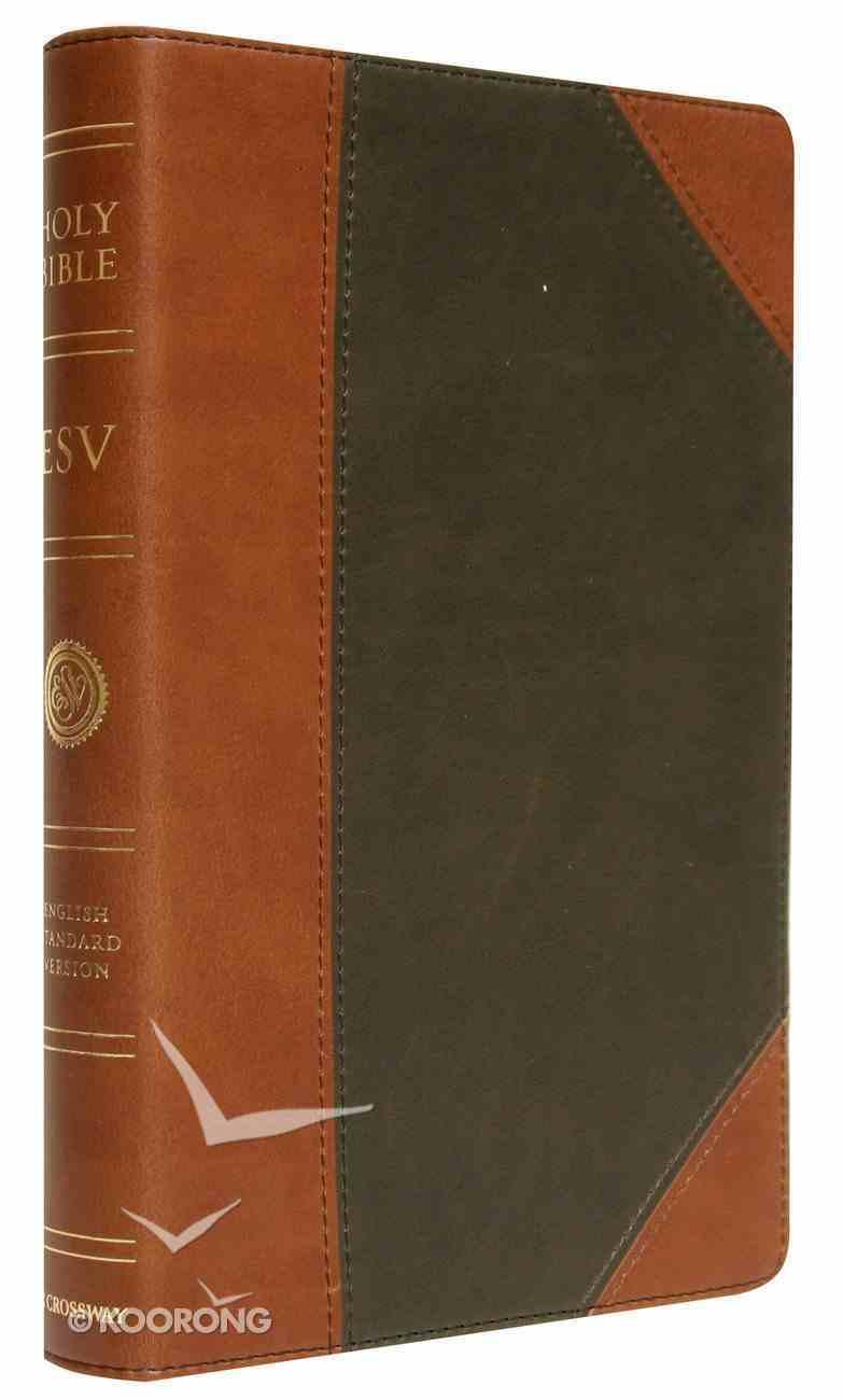 ESV Premium Thinline Bible Tan/Forest Trutone Portfolio Design Imitation Leather