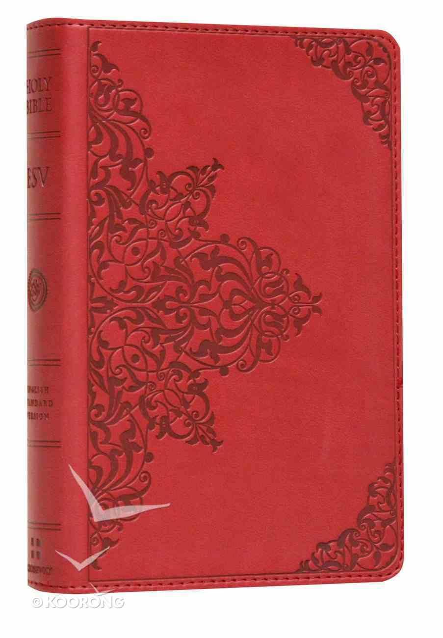 ESV Compact Bible Cranberry Filigree Design Imitation Leather