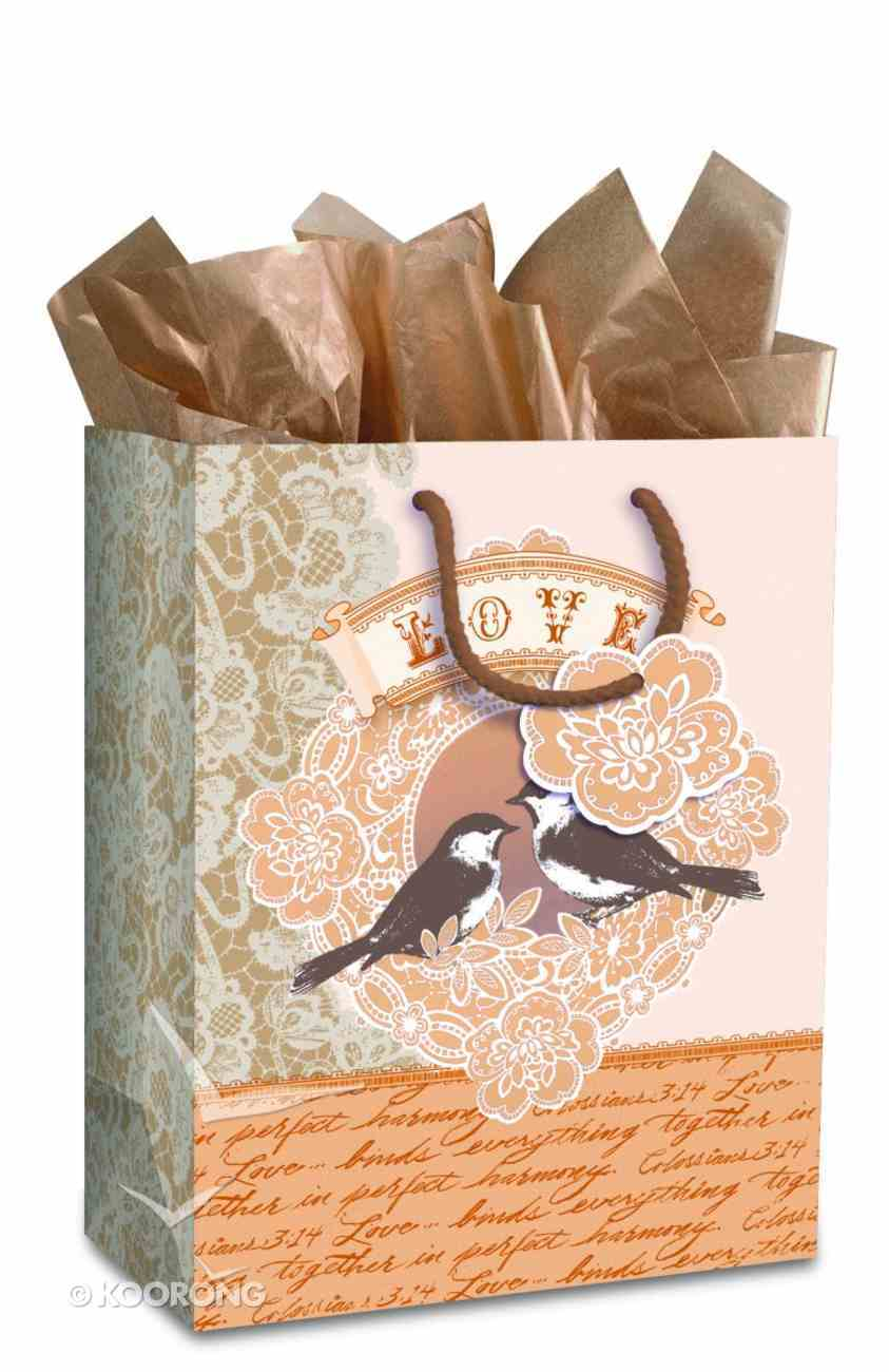 Gift Bag Large: Elegant Love Birds (Incl Tissue And Gift Tag) Stationery