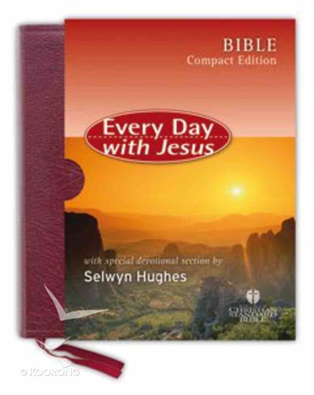 HCSB Every Day With Jesus Compact Burgundy Bonded Leather