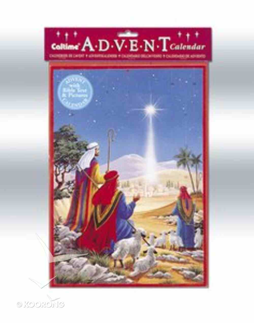 Advent Calendar: Shepherds At the Stable With Bible Text/Pictures/Envelope Calendar