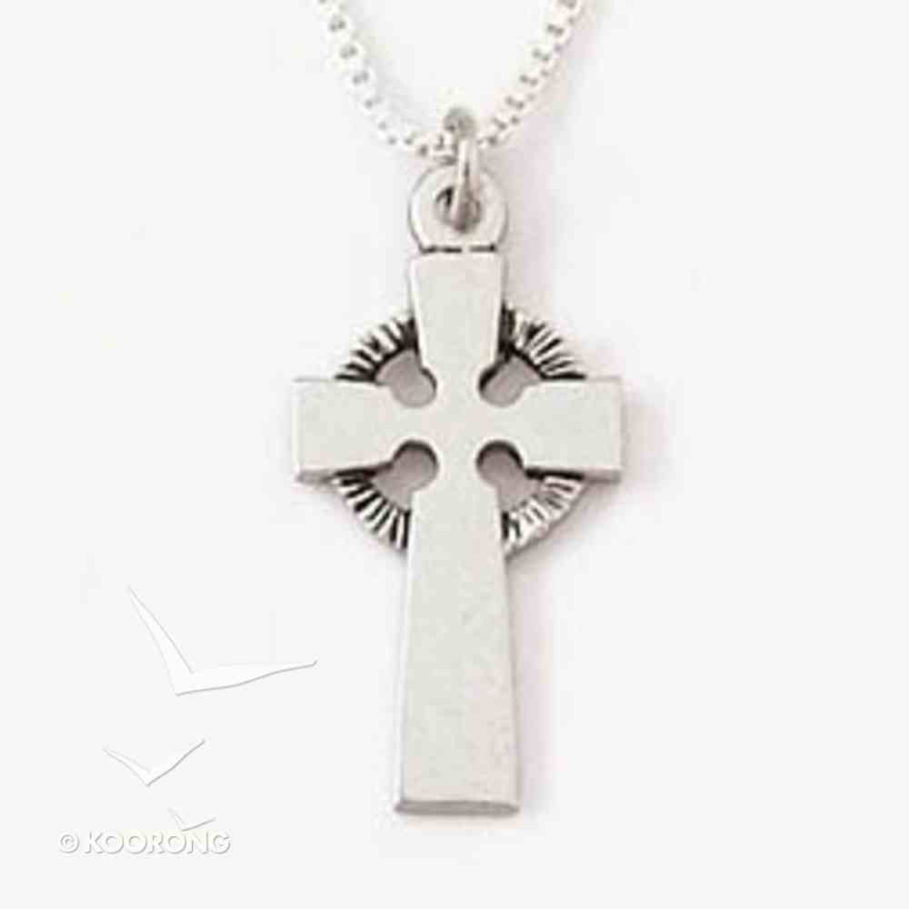 Necklace: Flat Celtic Cross Sterling Silver on a 45Cm Box Chain Jewellery