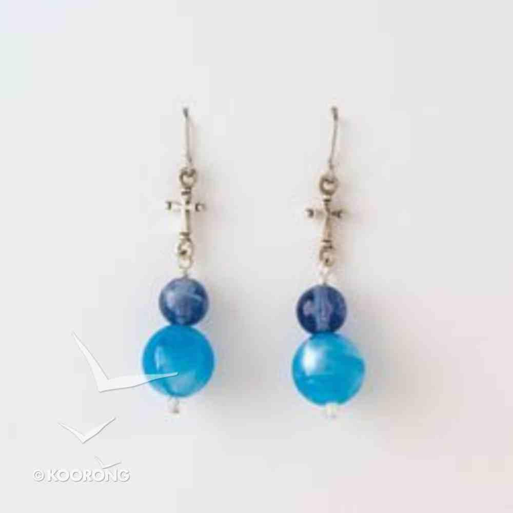 Earrings: Pewter Flared Bead Cross/Blue Beads Jewellery