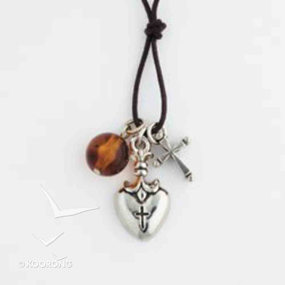 Pendant: Fleur Top Heart and Cross With Bead (Pewter) Jewellery