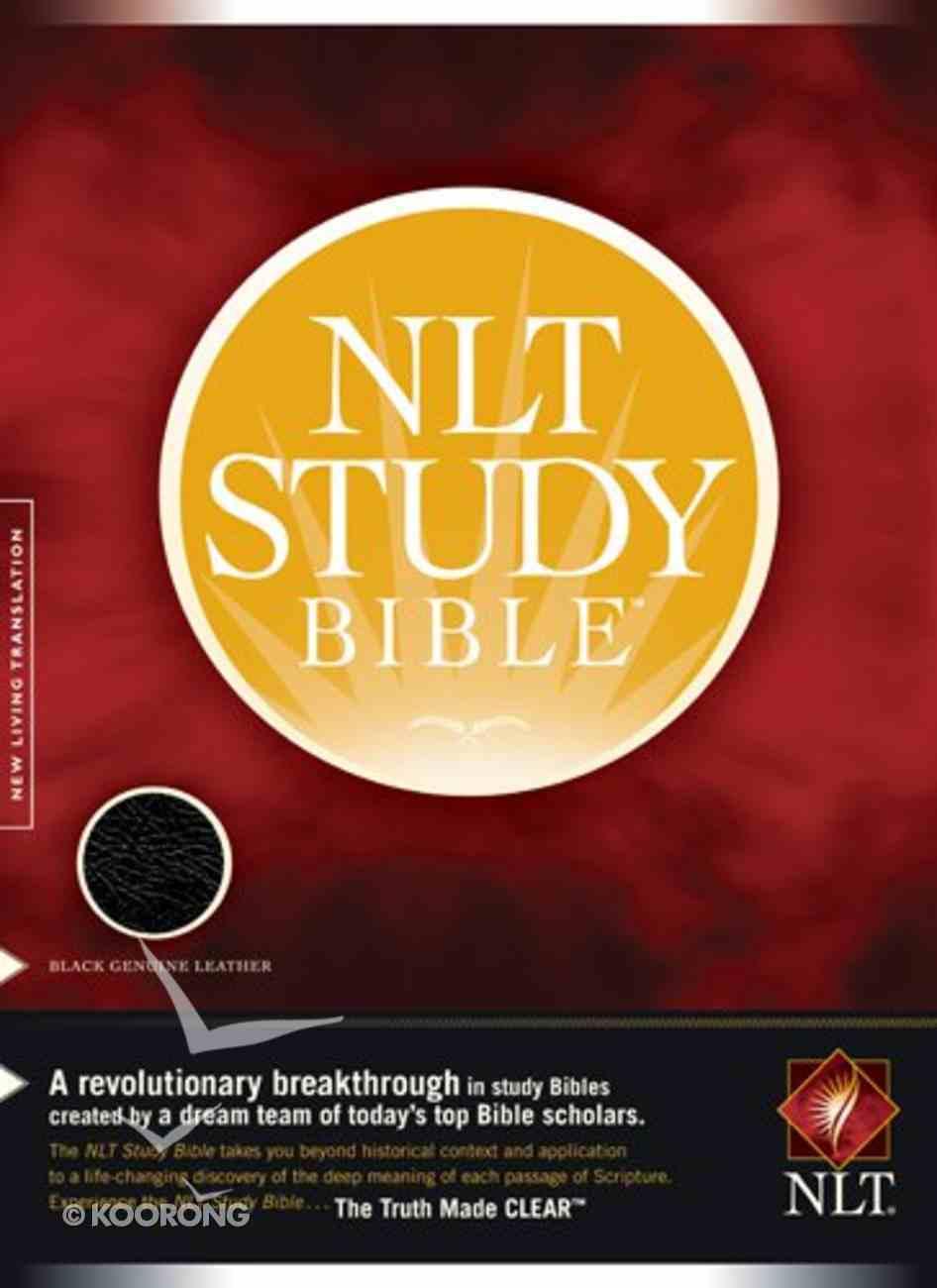 NLT Study Black Genuine Leather