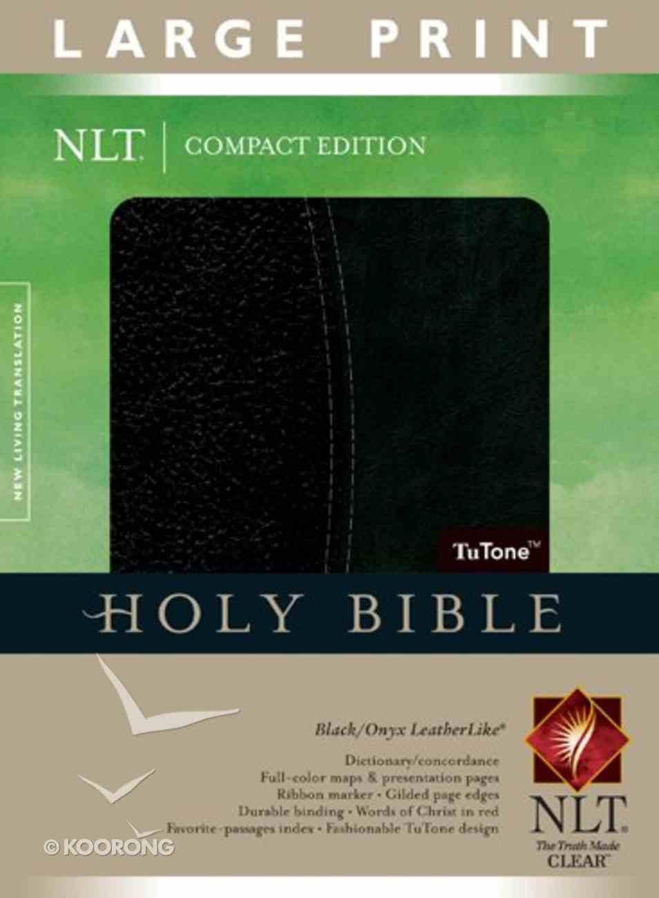 NLT Compact Large Print Bible Indexed Black Onyx (Red Letter Edition) Imitation Leather